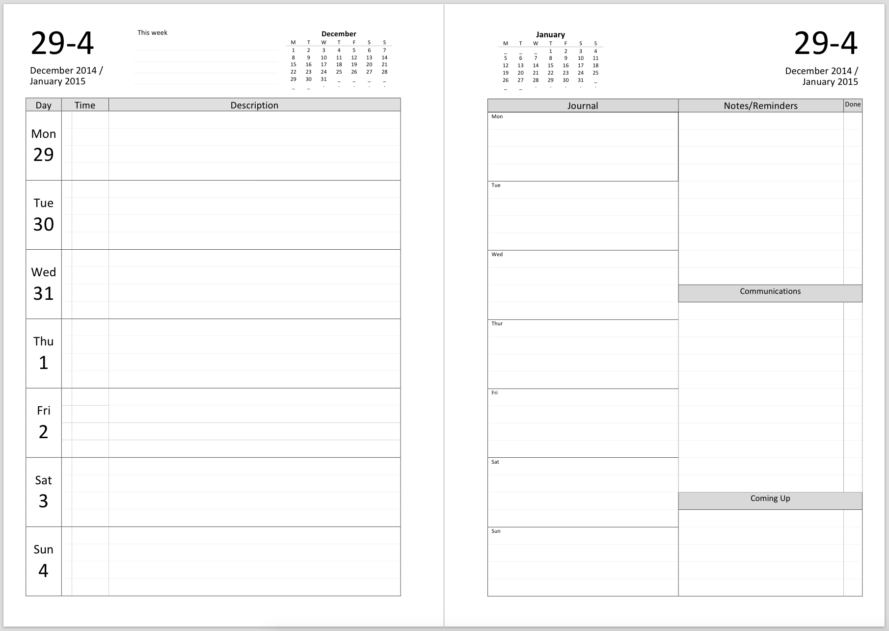 ... Week ...  Ms Word Diary Template