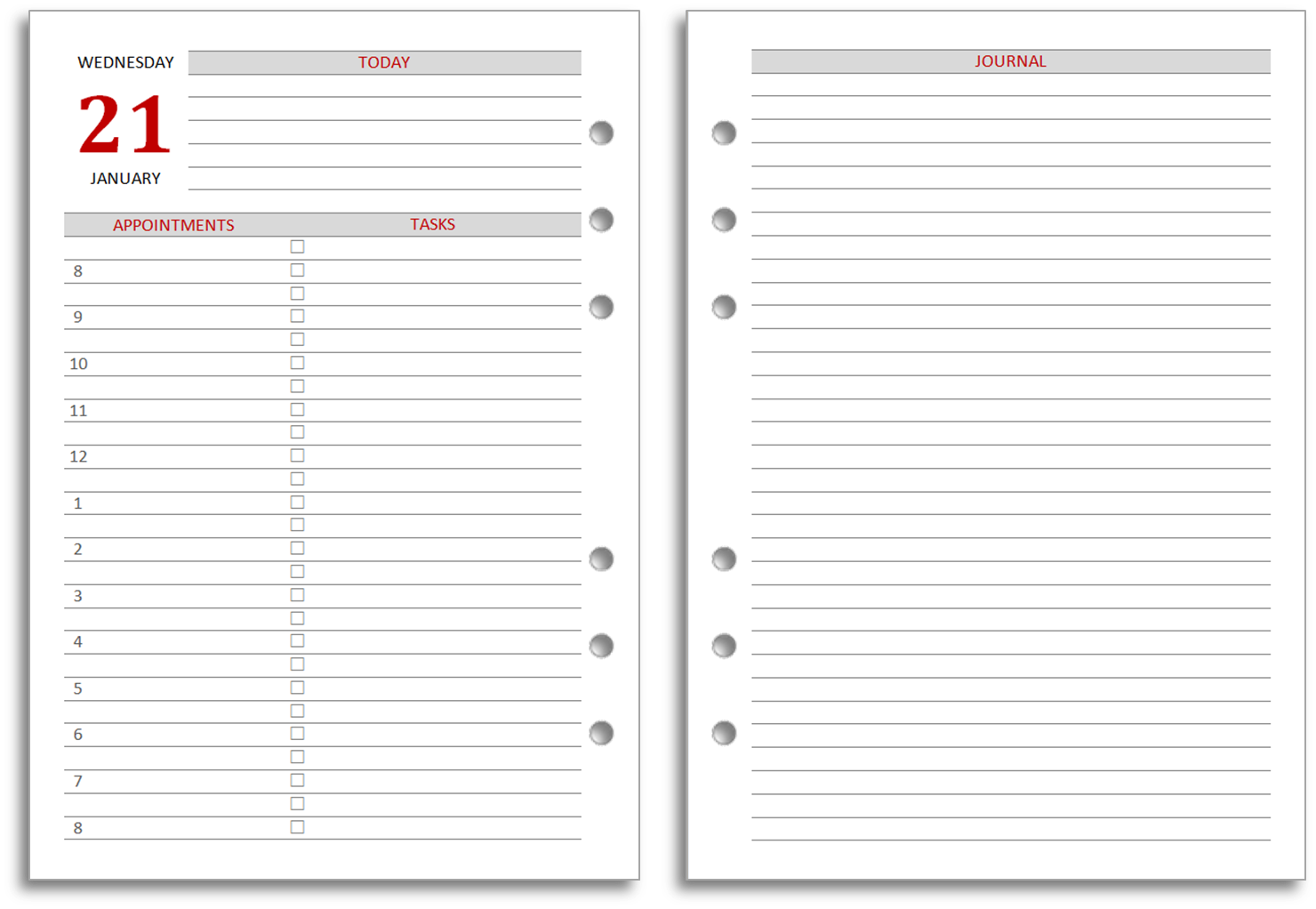 Daily Calendar Journal Template Printable Editable Blank – Printable Daily Calendar