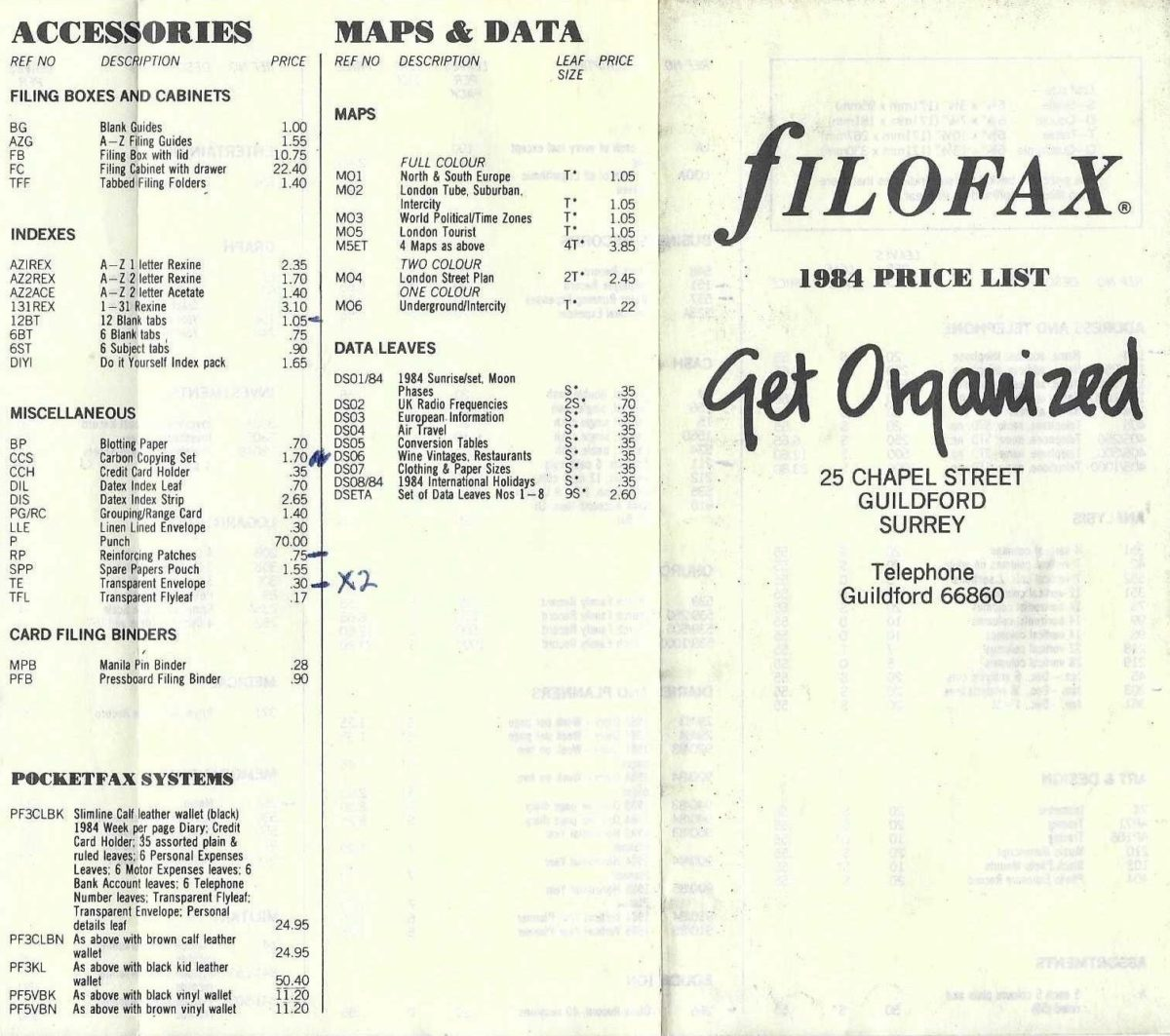 Filofax UK price list 1984