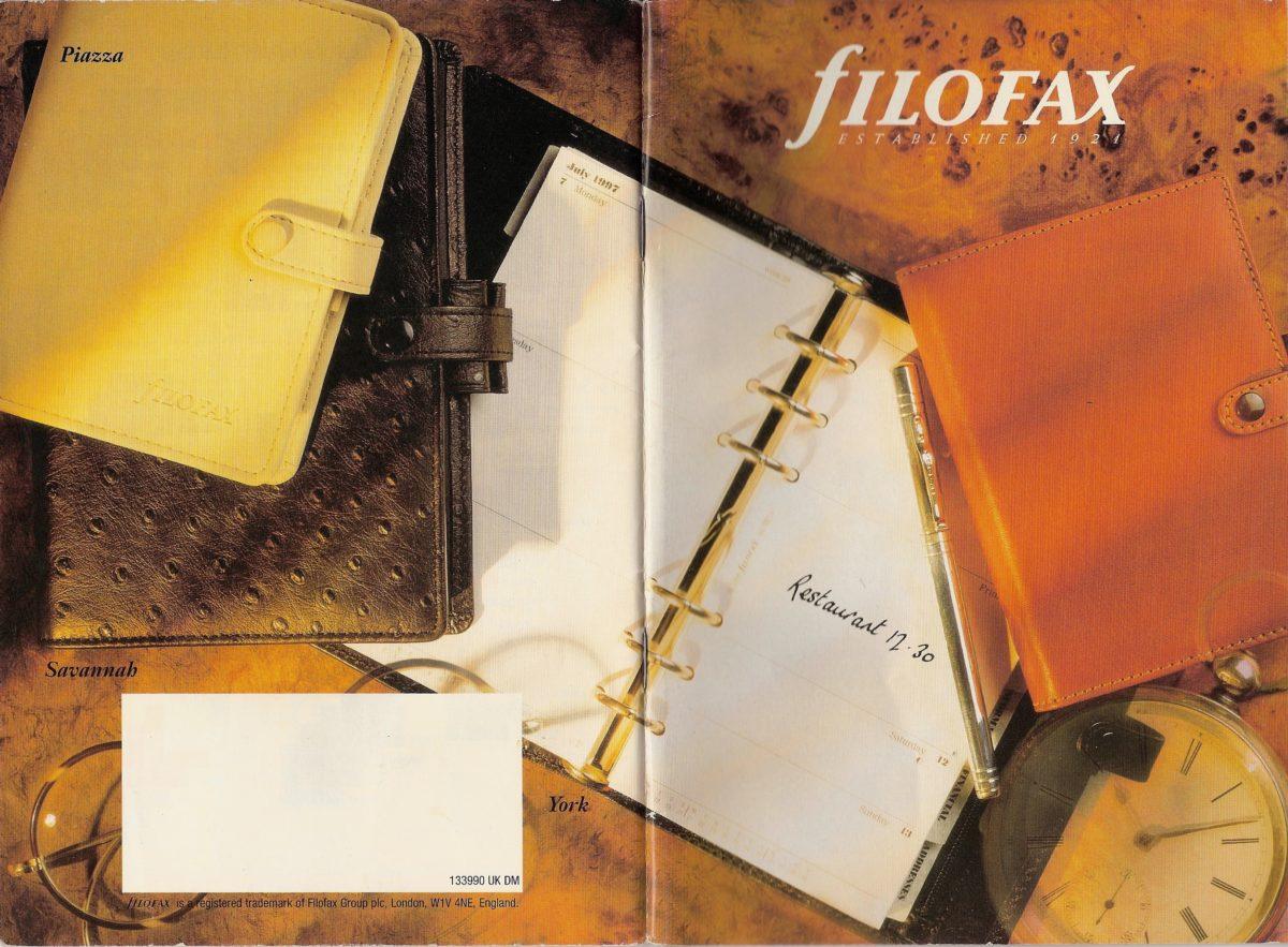 Filofax UK Full Catalogue1998