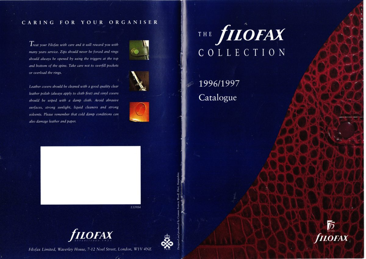 Filofax UK Full Catalogue 1996/97
