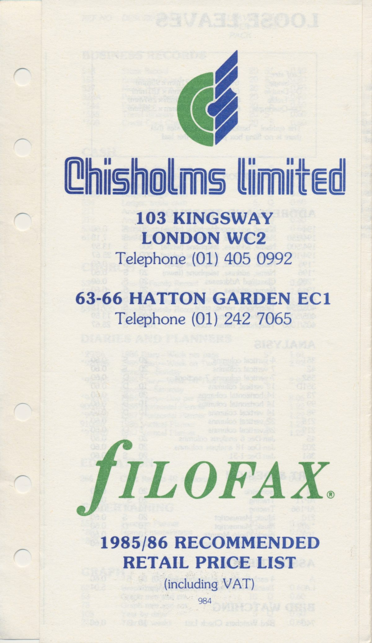 Filofax 1985/86 Price List – Chisholms Limited