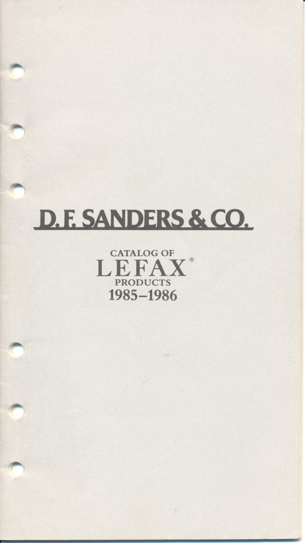 D.F. Sanders & Co – Lefax Catalogue 1985