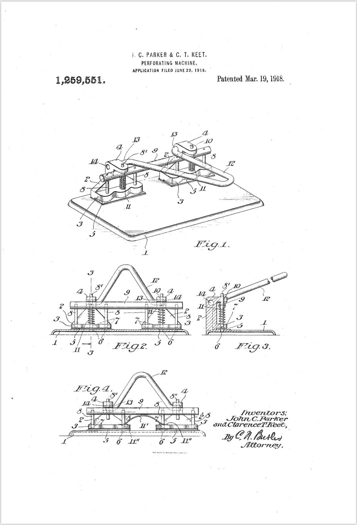 Lefax Paper Perforator Patent 1916/1918