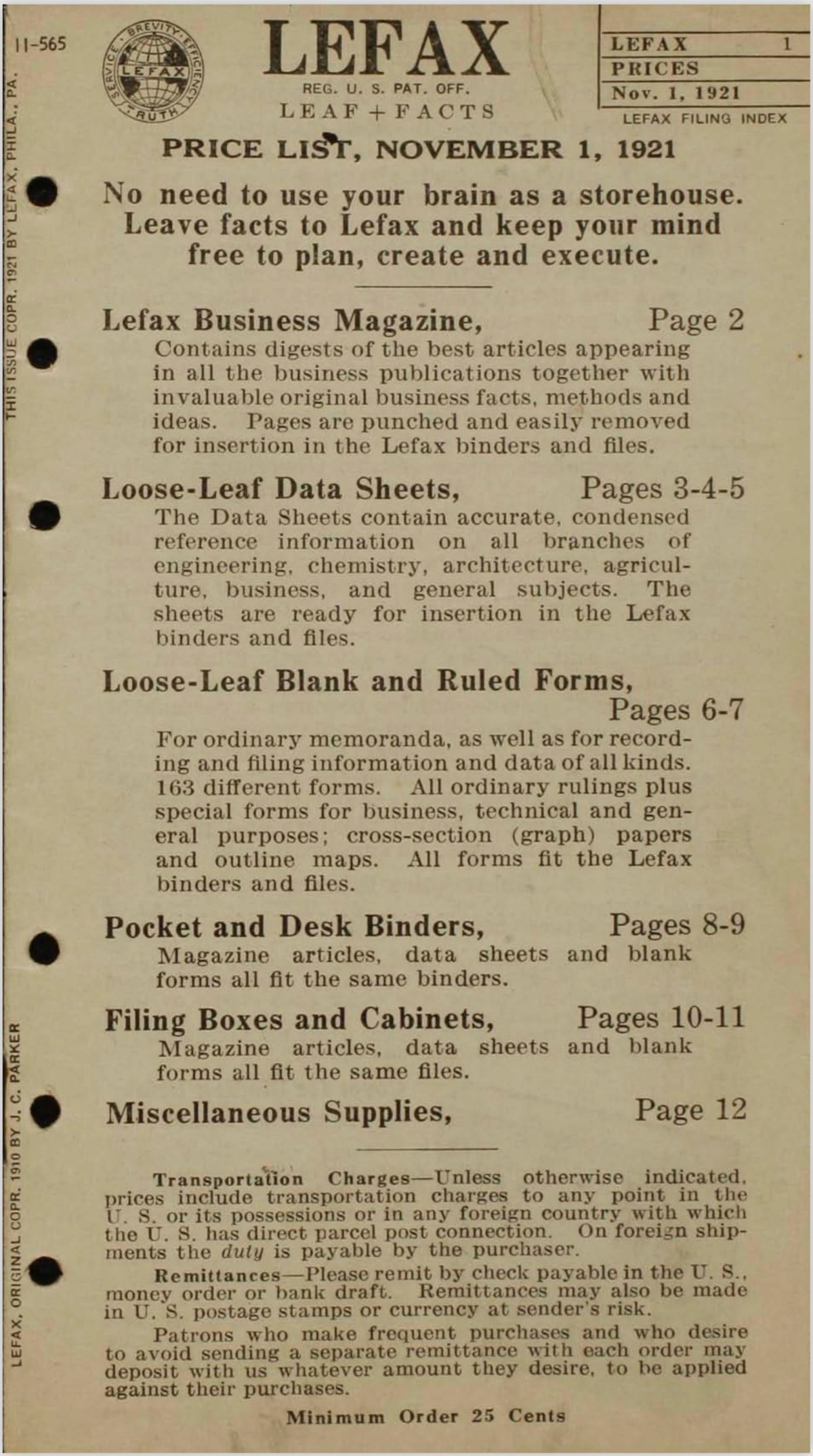 Lefax Price List 1921