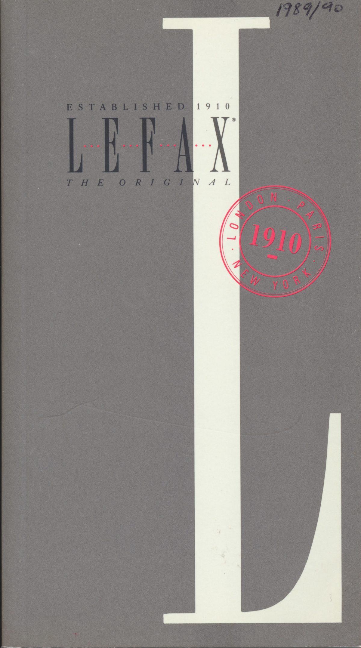 Lefax 1989-1990 Catalogue